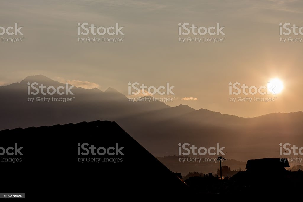wallpaper or background of northern Italy sunrise in the mountai zbiór zdjęć royalty-free