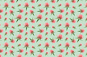 Wallpaper seamless pink flower pattern on pastel green background. Seamless pink roses pattern for fabric and wallpaper, for design and decoration.Beautiful flowers.