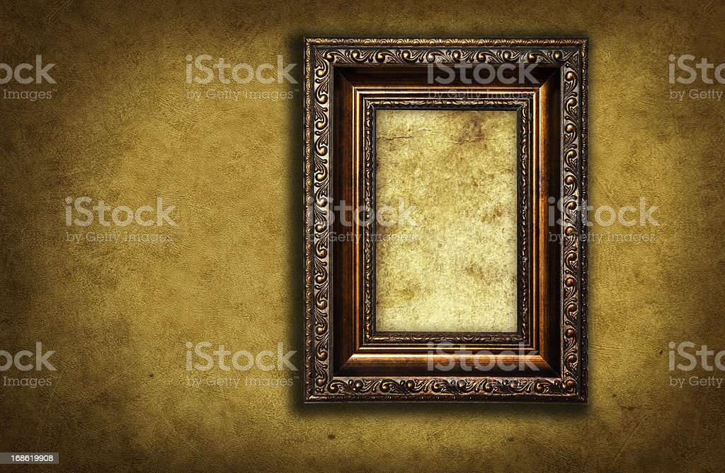 wallpaper with empty picture frame royalty-free stock photo