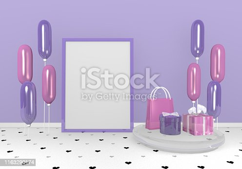 istock Wallpaper with gifts and balloons in purple and pink. 1163290174