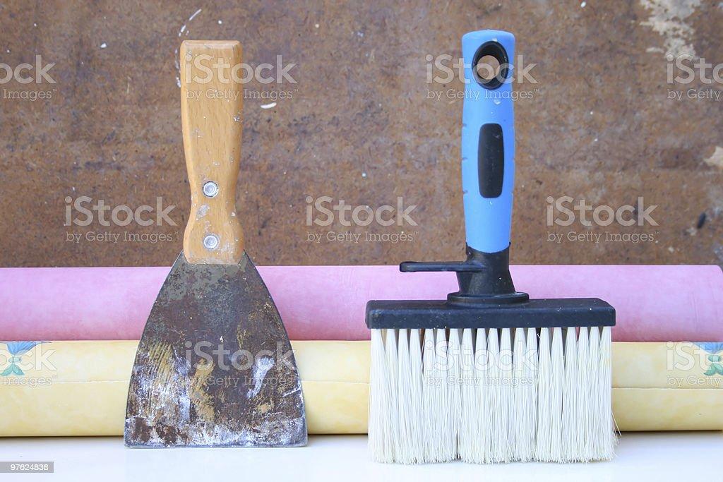 Wallpapering equipment. royaltyfri bildbanksbilder