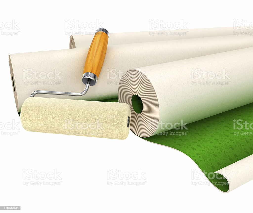 wallpapers and roller tool for house repairing isolated royalty-free stock photo