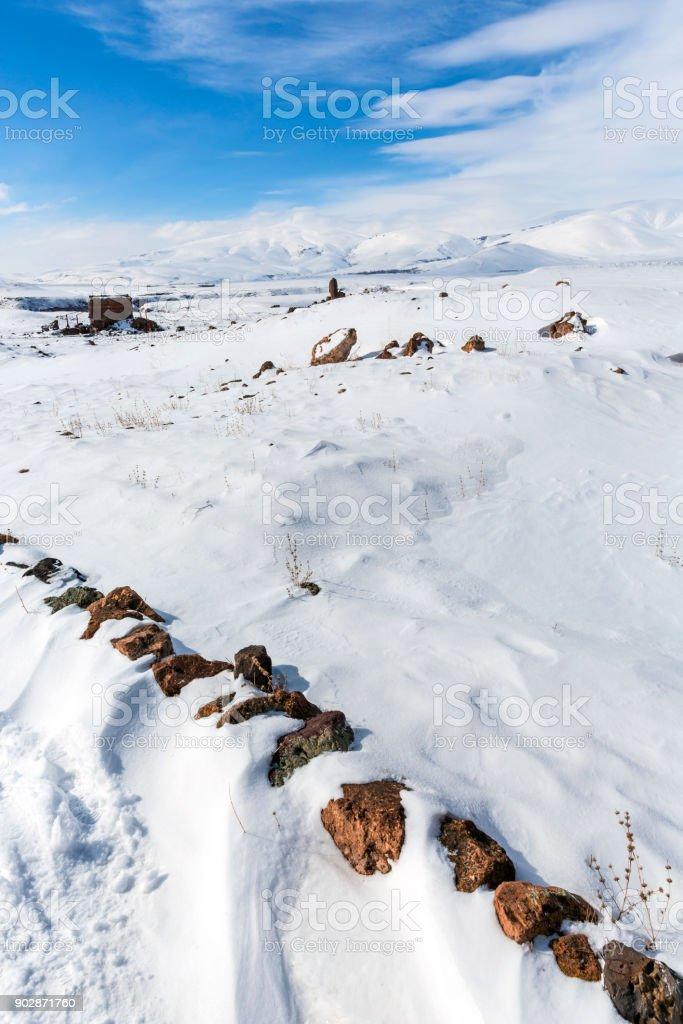 walls and building,Ani ruins,Kars,Turkey stock photo