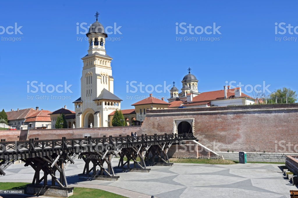 Walls and cathedral of the Romanian Orthodox Church of  Alba Iulia, Transylvania, Romania stock photo