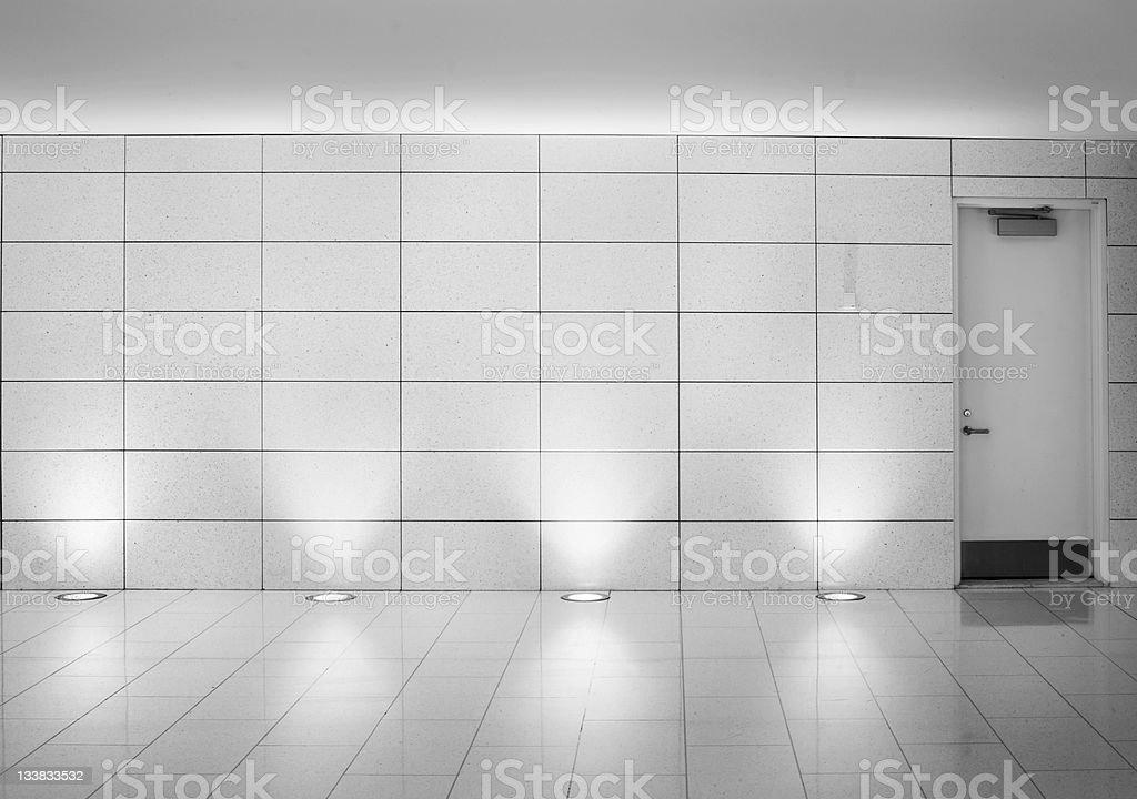 walls and door in an underground montreal metro corridor royalty-free stock photo