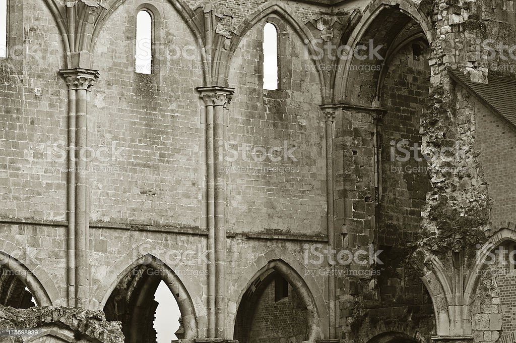 Walls of a ruined church royalty-free stock photo