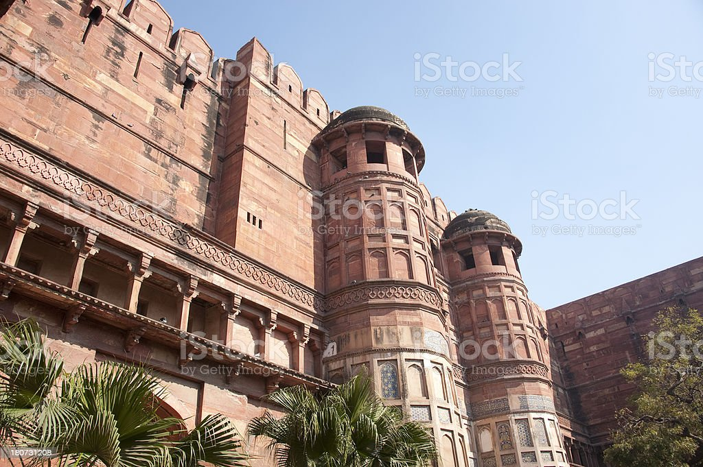 Walls of Agra Fort royalty-free stock photo