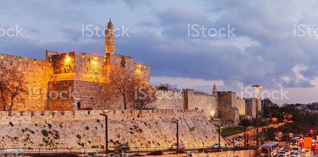 Walls of Ancient City at Night, Jerusalem stock photo