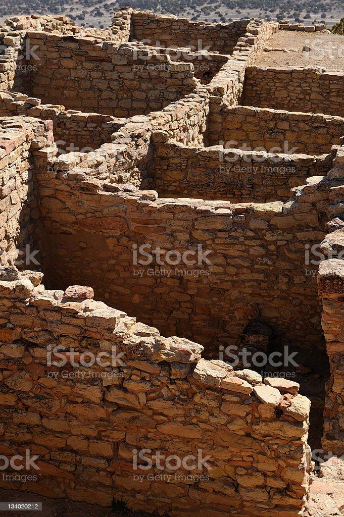 Walls of Ancient Pueblo Ruins stock photo