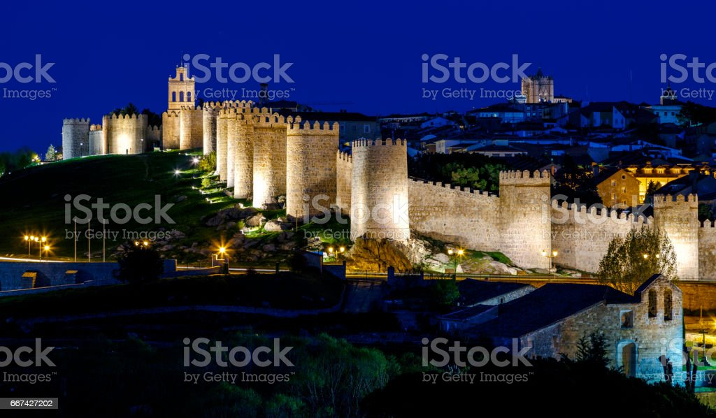 Walls of Avila Spain, night stock photo