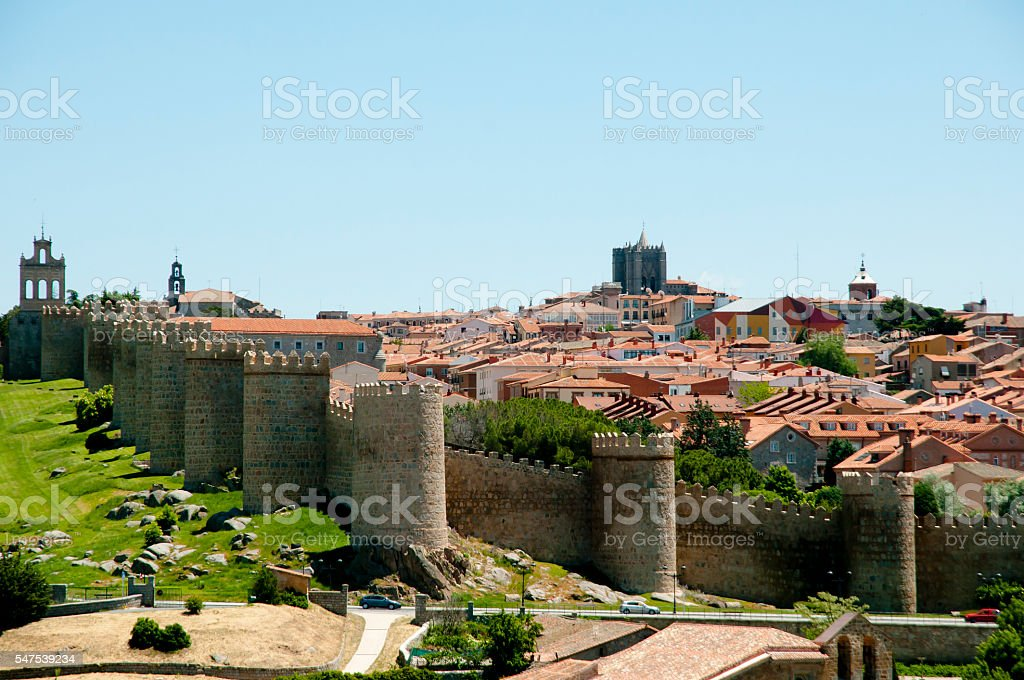 Walls of Avila - Spain stock photo