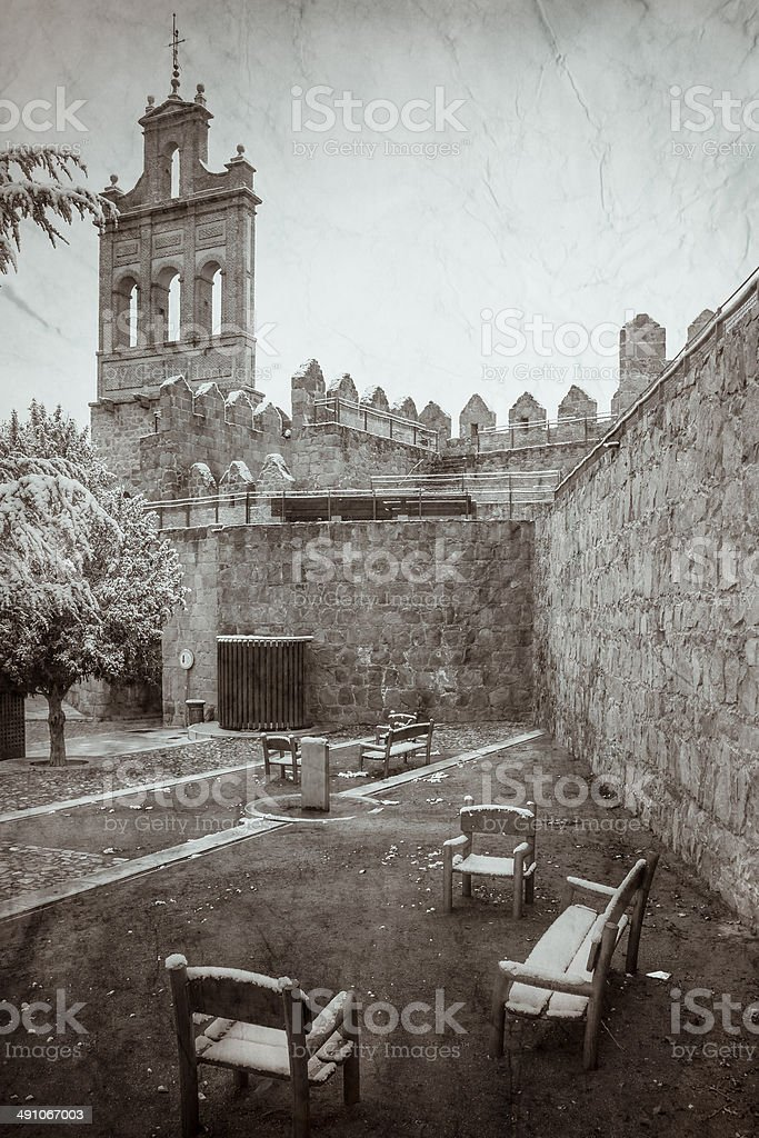 Walls of Avila (Spain) Vintage royalty-free stock photo