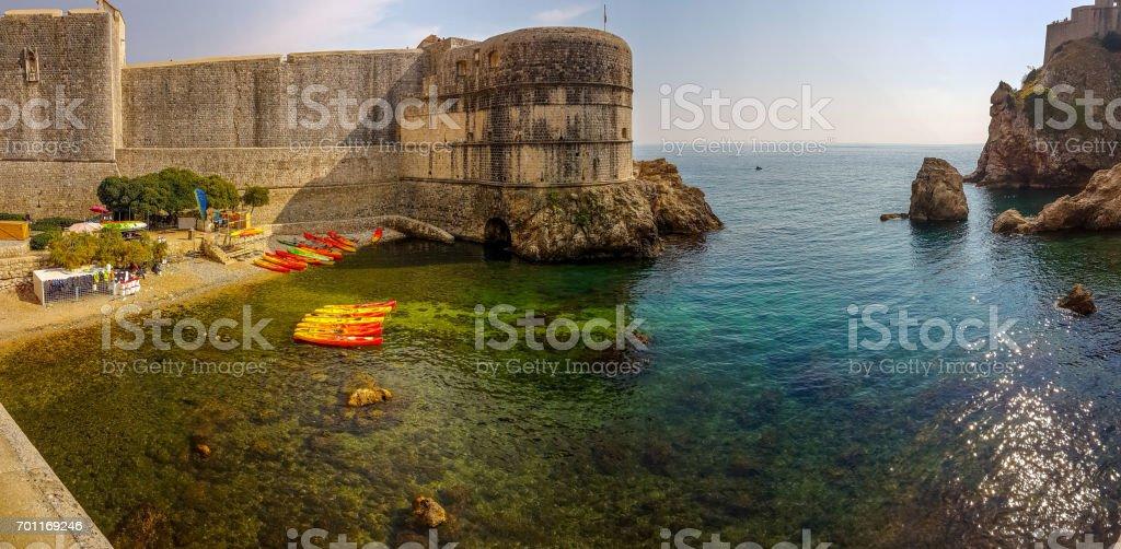 Walls of Dubrovnik old town, Croatia stock photo