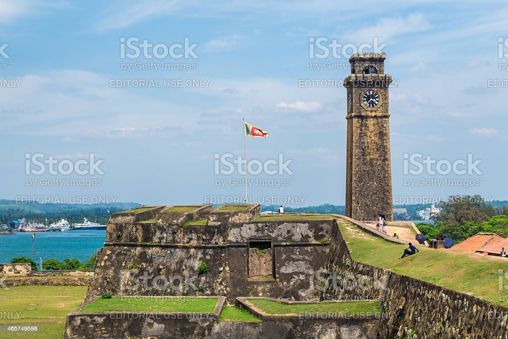 Walls of Galle fort with clock tower in distance stock photo