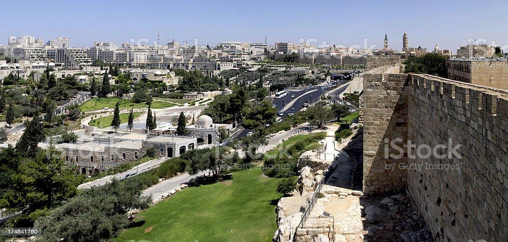 Walls of Jerusalem - Old and modern City royalty-free stock photo