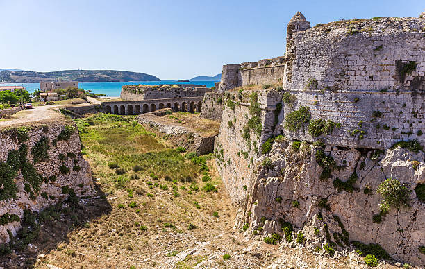 walls of medieval fortress in Methoni, Peloponnese stock photo
