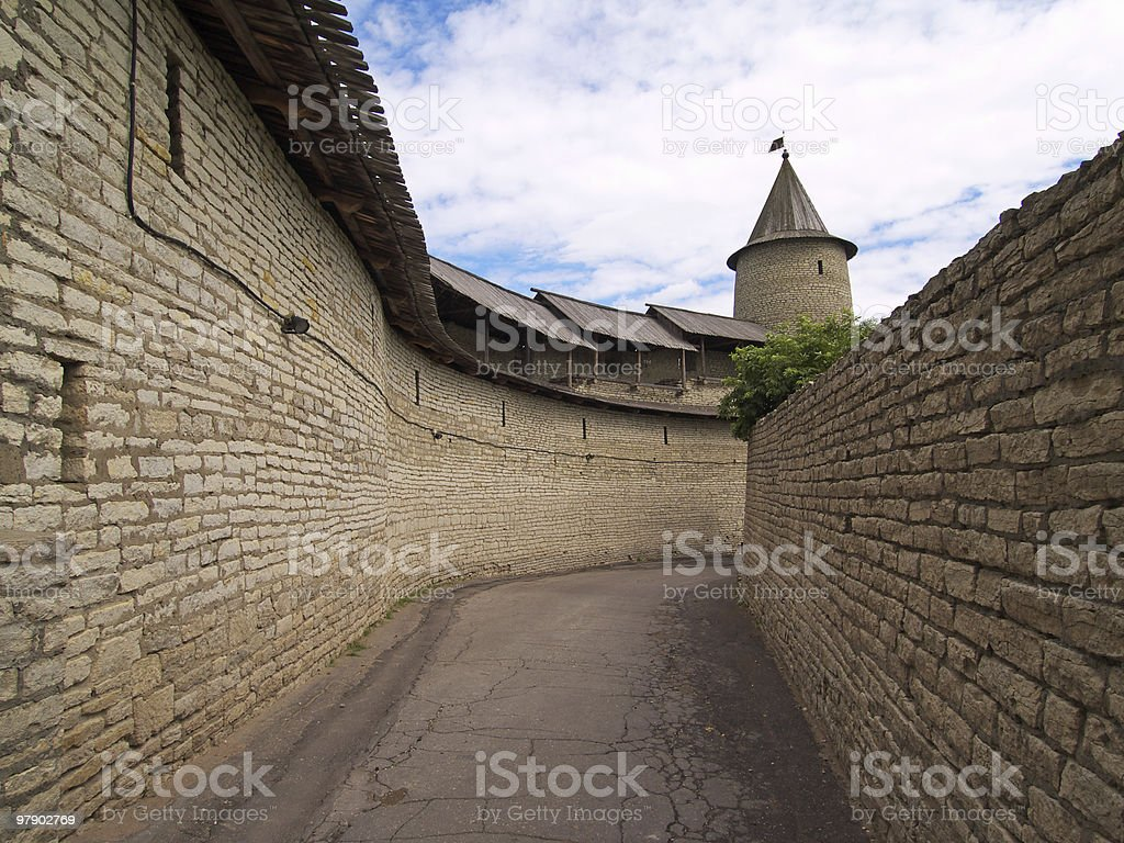 Walls of old castle royalty-free stock photo