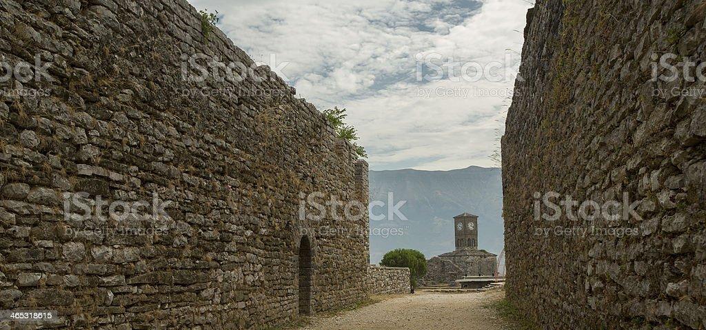 Walls of old city Gjirokastra, Albania stock photo
