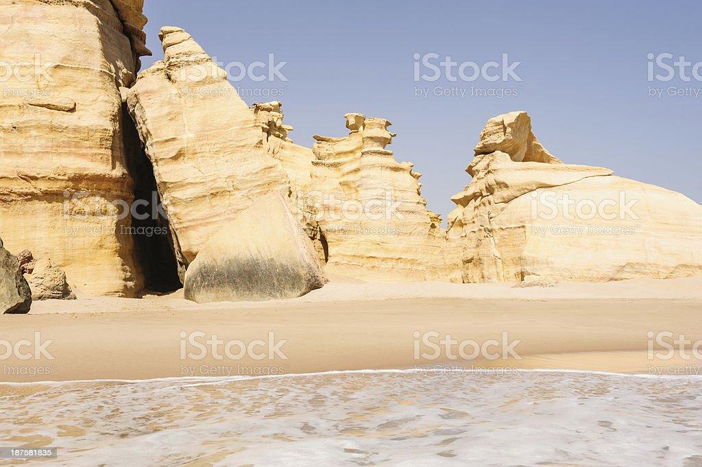 Walls of Ras al-Jinz stock photo