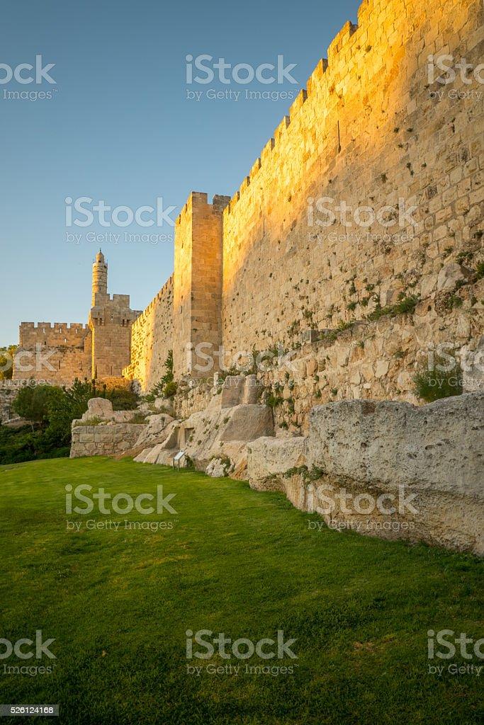Walls of the old city, Jerusalem stock photo