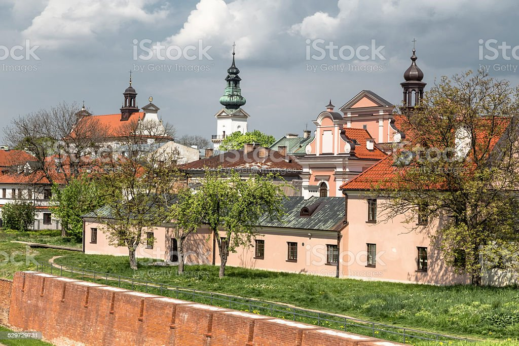 Walls of the old town in Zamosc stock photo