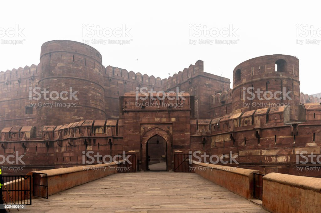 Walls of the Red Fort of Agra, India. UNESCO World Heritage site. stock photo