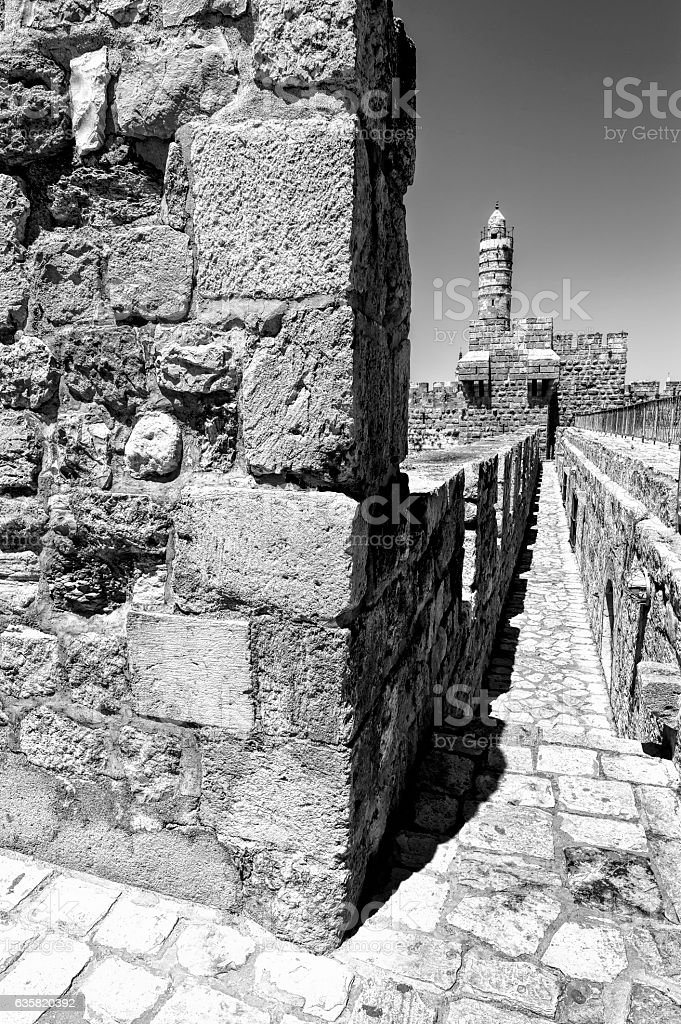 Walls Surrounding the Old City in Jerusalem stock photo