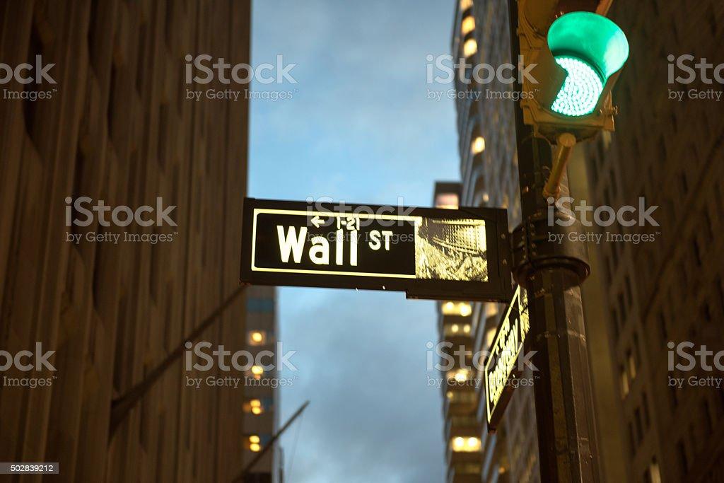 Wallstreet sign at night stock photo