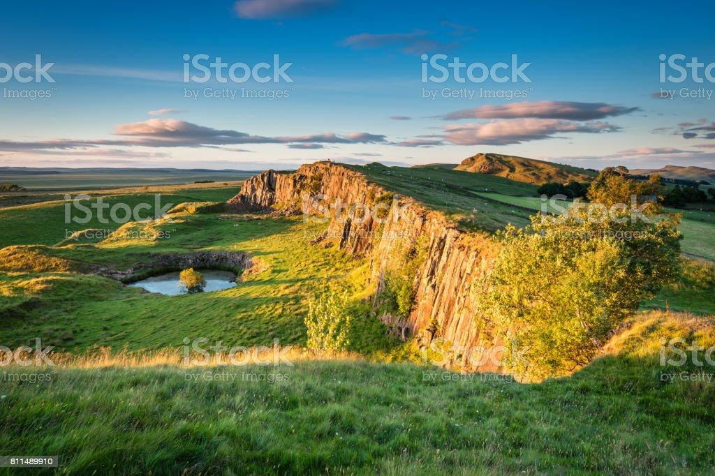 Walltown Crags below Hadrian's Wall stock photo