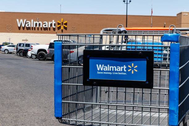 Walmart Retail Location. Walmart is boosting its internet and ecommerce presence to keep up with competitors V stock photo