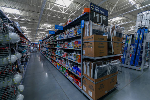 Walmart store interior in Portland, Oregon, USA Portland, Oregon, USA - April 9, 2018 : Walmart store interior. is an American multinational corporation that runs large discount stores and is the world's largest public corporation. wal mart stock pictures, royalty-free photos & images