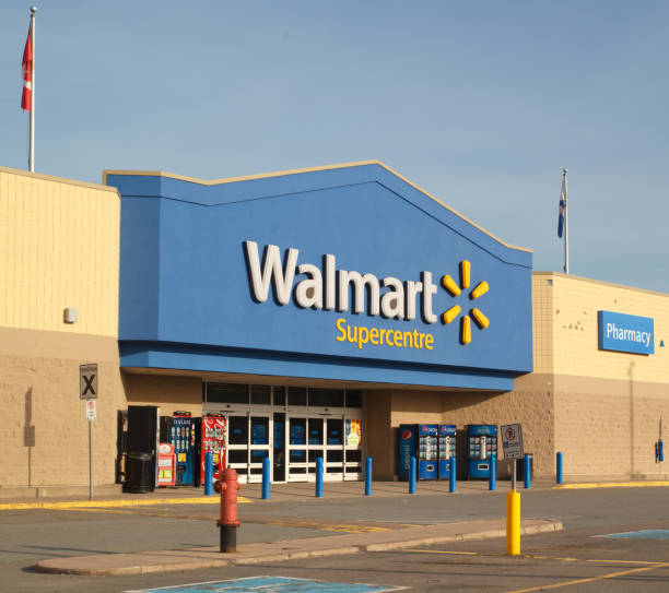 Walmart Storefront Truro, Canada - June 12, 2017: Walmart storefront. Walmart is an American orporation with chains of department and warehouse stores. There are more than 11,000 stores in 27 countries. wal mart stock pictures, royalty-free photos & images