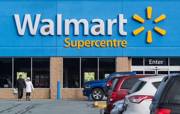 Walmart Supercentre Bedford, Canada - December 5, 2015 - Walmart Supercentre store in the Bedford Commons shopping area. wal mart stock pictures, royalty-free photos & images