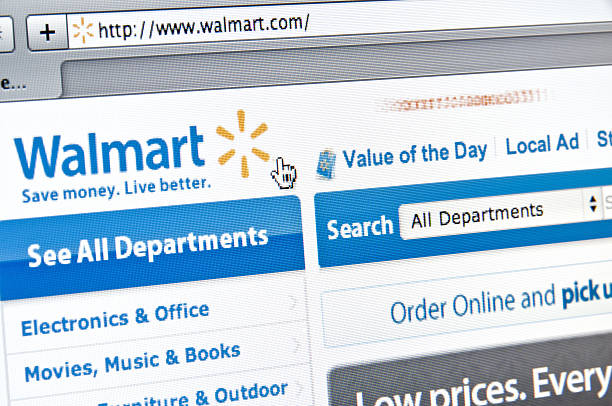 Walmart Website Minneapolis, Minnesota, USA - July 2, 2011: Walmart Stores Website.  A close-up view of the Walmart shopping website on a LCD monitor. Walmart is one of the largest discount retailers in the United States. wal mart stock pictures, royalty-free photos & images