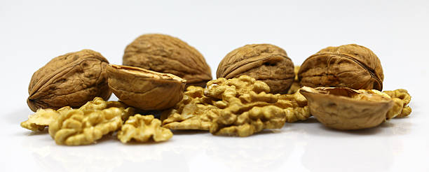 Walnut and a cracked walnut on the white background – Foto