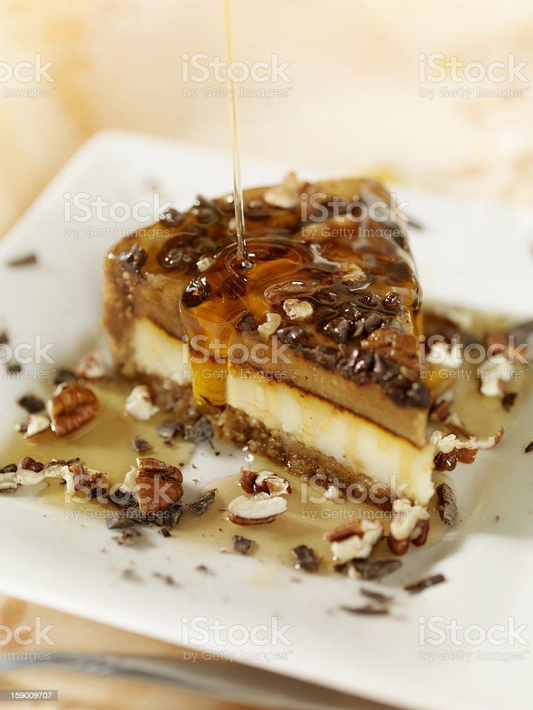 Walnut and Caramel Cheesecake royalty-free stock photo