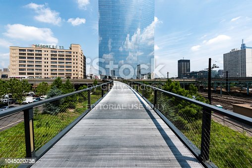 Philadelphia, USA - July 17, 2018: Walnut bridge located Penn Park,Philadelphia.  It connect  Walnut street and University City. It is a good place for tourists to visit.