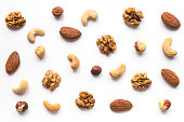 Isolated nuts pattern backdrop. Top view.