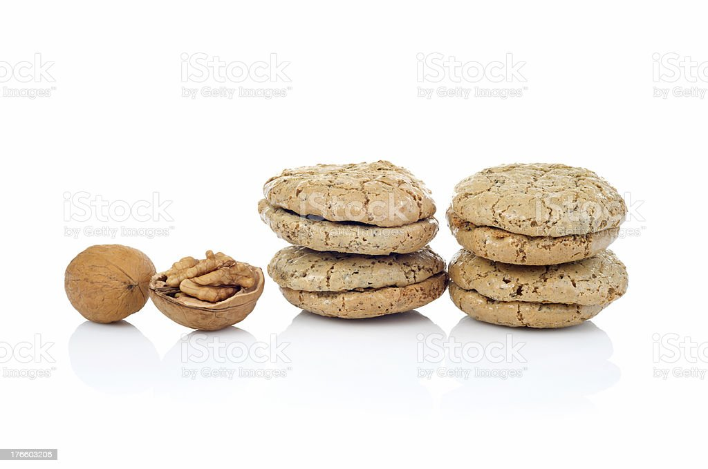walnut  cookies isolated on white background royalty-free stock photo