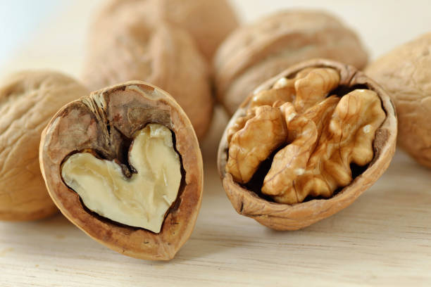 Walnut is good for your heart and brain Walnut is good for your heart and brain walnut stock pictures, royalty-free photos & images
