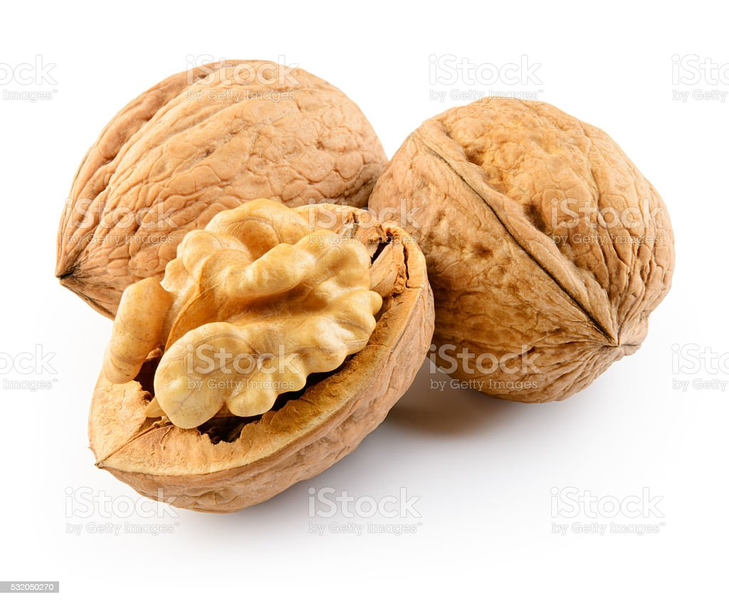 Walnut isolated on the white background. With clipping path. stock photo