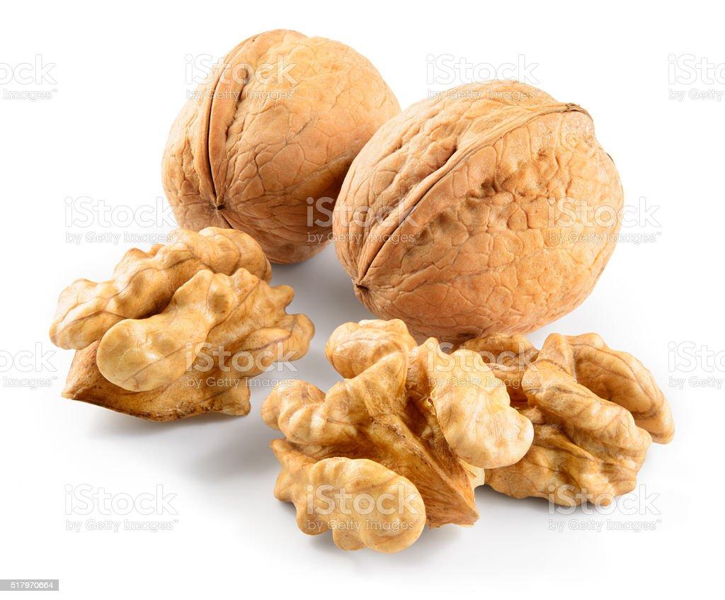 Walnut isolated on white background stock photo