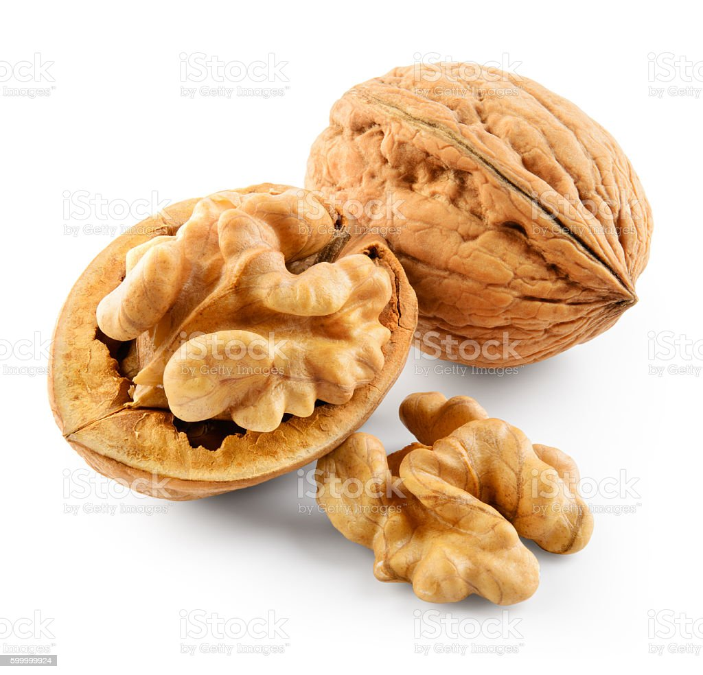 Walnut isolated on white background. With clipping path. stock photo