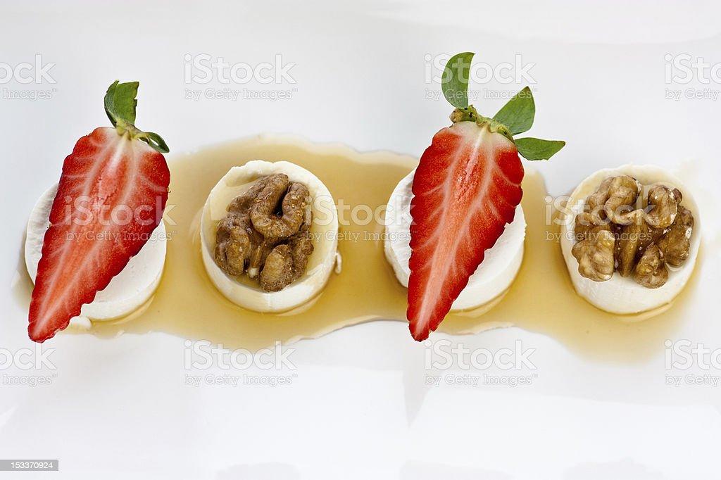 walnut strawberry goat cheese stock photo