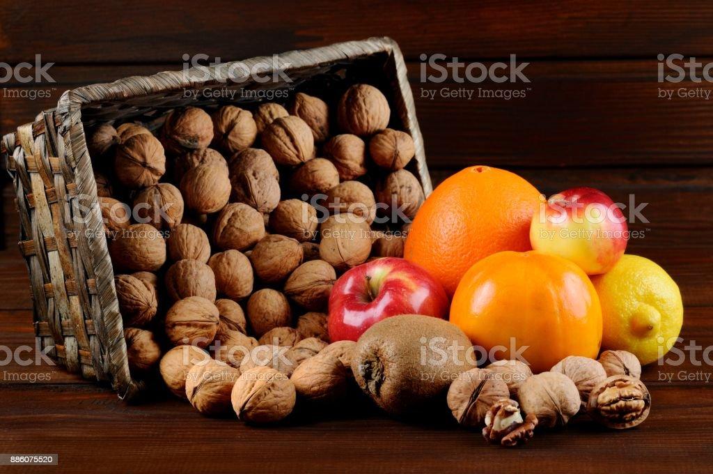 Walnuts and Fruits stock photo