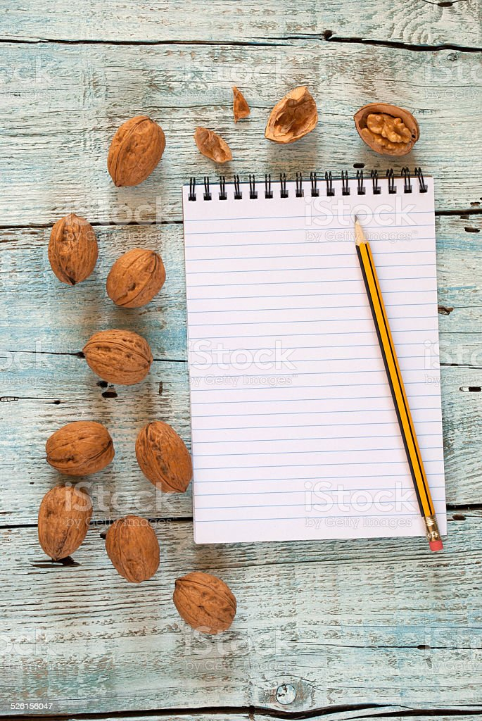Walnuts and notebook stock photo