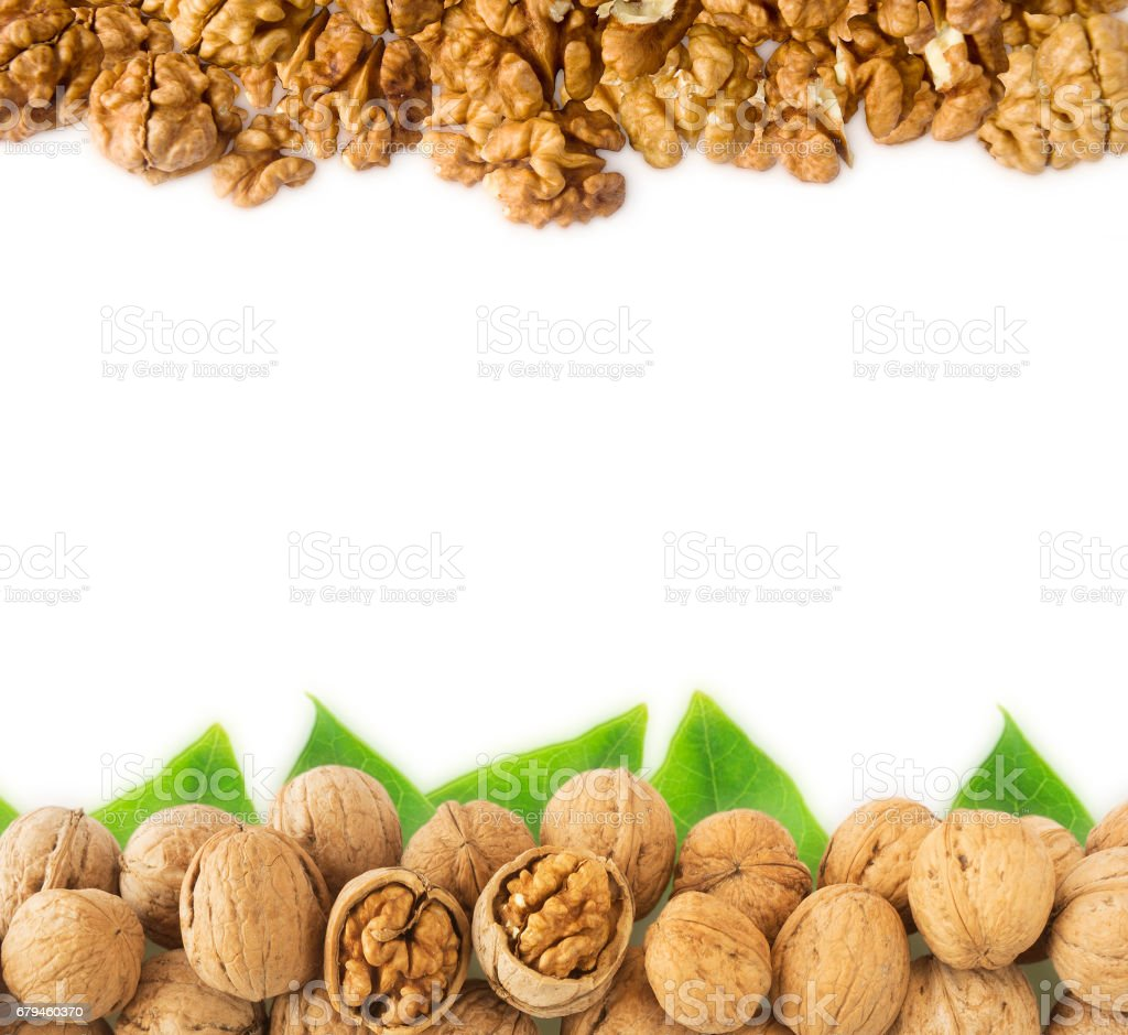 Walnuts at border of image with copy space for text royalty-free stock photo
