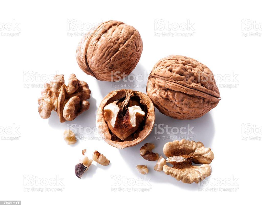 walnuts close-up  isolated on white background stock photo