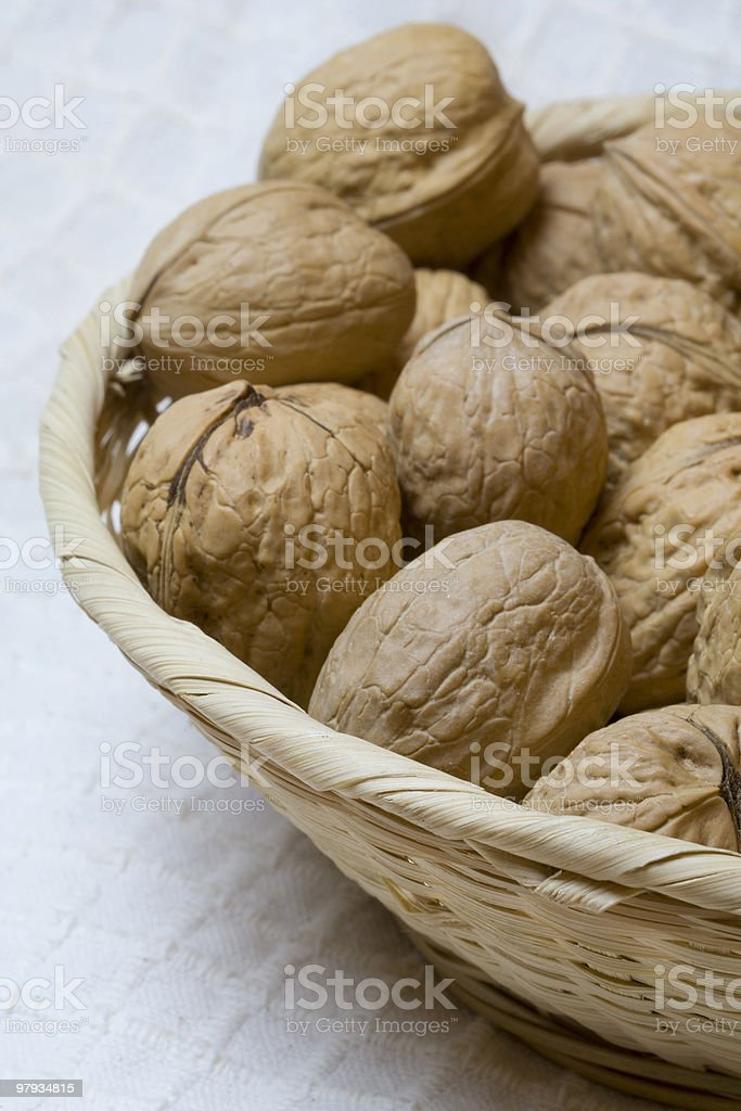 Walnuts in a basket royalty-free stock photo