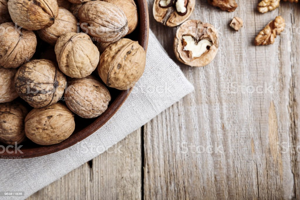 walnuts in a bowl royalty-free stock photo